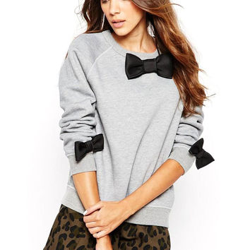 Gray Long Sleeve Loose Bow knot Sweatshirts