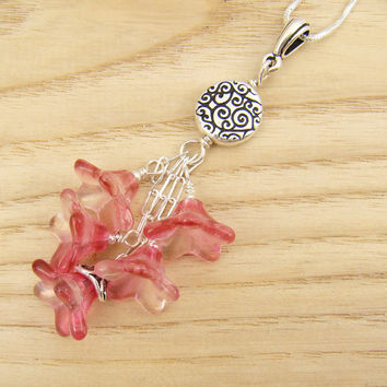 """Flower cluster pendant with two tone pink red glass beads, 18"""" chain"""