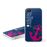 Drop Anchor Design Snap on Hard Case Faceplate Cover for Apple iPhone 4 / 4S 16GB 32GB 64GB