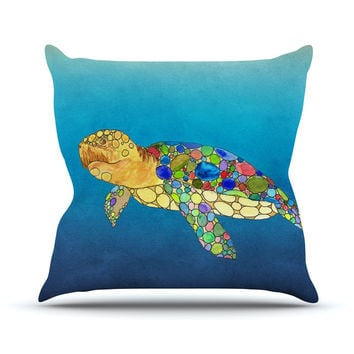 "Catherine Holcombe ""Bubbles"" Blue Turtle Outdoor Throw Pillow"