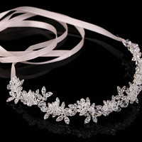 wedding party romantic metal leaf with crystal rhinestone beads flower headband bride  bridal high quality  hair accessories