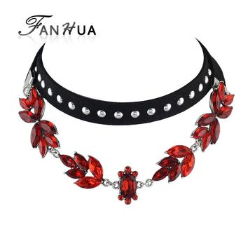 FANHUA 2pcs/set Black Coffee Suede Fabric Choker Necklace Red Blue White Champagne Rhinestone Flower MultiLayer Chain Necklace