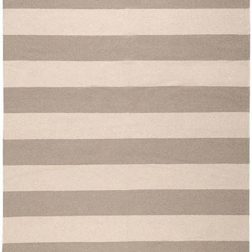 Grey Lake Stripe Dhurrie Rug