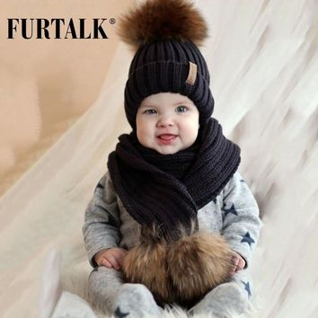 FURTALK Kids Ages 2-7 Winter Baby Real Fur Pompom Hat Scarf Set Knit Beanie Hats and Scarves for Child