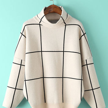 Plaid Loose High-Necked Pullover Knitted Sweater
