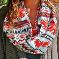 Winter Wonderland Red Grey and White Snowflake Hearts Infinity Scarf-Cozy Women's Neck Warmer Tribal Print