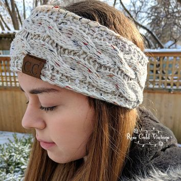 Confetti Knit CC Cable Headbands - BURGUNDY only