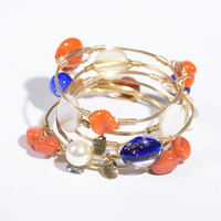 Ships Free! Orange Stones Bourbon and Bowties Inspired Bangle Bracelet - Popular Gift Idea!