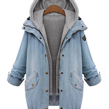 Faux Twinset Hooded Zip-Up Denim Jacket
