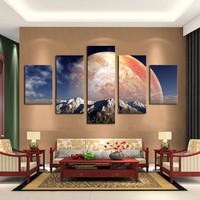 Unframed 5 Panels Canvas Print Huge HD Red Planet Wall Art Picture Top-rated For Living Room Painting Artwork