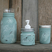 Mason Jar Bath Set, including soap dispenser - Annie Sloan Chalk Paint Duckegg Blue - Rustic, Country, Shabby Chic, Farmhouse, Vintage Style