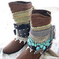 Festival fall lacy festival boho cowboy boots, Feather boho boots, western boots, sexy gypsy boots, Scunch ankle boots, True rebel clothing