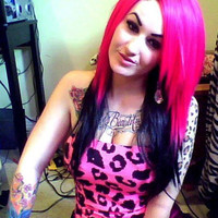HAPPY HOLIDAYS SALE / Hot Pink and Black / Long Straight Layered Wig
