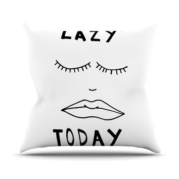 "Vasare Nar ""Lazy Today White"" Typography Outdoor Throw Pillow"