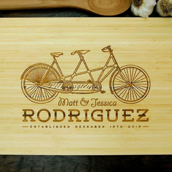 Personalized Cutting Board (Pictured in Amber), approx. 12 x 16 inches, Tandem Bicycle Monogram - Wedding gift, Anniversary gif