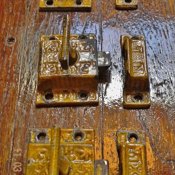 Set of 3 Antique Victorian Cabinet Latches, Locks, Cast Iron  Architectural Salvage