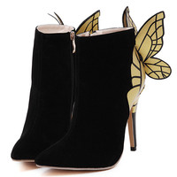 Black Suedette Stud Butterfly Designed Heeled Ankle Boots