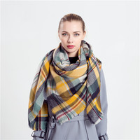 Women Fashion Winter Cashmere Plaid Scarf Warm Blanket Scarf Lovely Wrap Shawl(140*140cm) [9572849935]