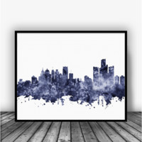 Detroit Skyline Black Art Print Poster