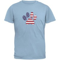 ONETOW 4th of July Patriotic Dog Paw Light Blue Adult T-Shirt