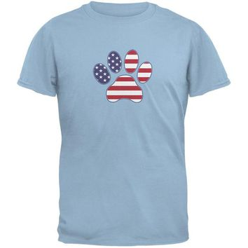 DCCKJY1 4th of July Patriotic Dog Paw Light Blue Adult T-Shirt