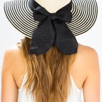 Linen Bow Trimmed Stripe Floppy Hat
