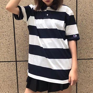 Champion Stripe Woman Men Fashion Lapel Shirt Top Tee