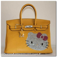 Hermes Birkin Rhinestone Hello Kitty Yellow Leather Handbag 35cm
