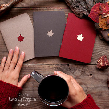 Forest notebook with a carved pattern - Maple-leaf - set of 3 notebook (small size)