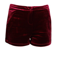 Wine Velvet Shorts at Fashion Union