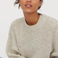 Chunky-knit Sweater - Light beige/nepped - Ladies | H&M US