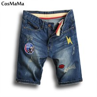 2017 New arrival CosMaMa Brand factory slim fit summer fashion patchwork denim ripped jeans shorts for men
