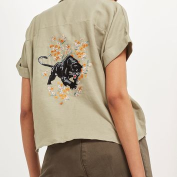 PETITE Panther Embroidered Shirt | Topshop