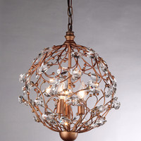 Bronzetone Sphere and Crystal 3-light Chandelier