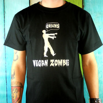Men's Zombie TShirt - Black Vegan Zombies Fashion Screen printed Clothing Gifts for men Horror Inspired Graphic Zombie gift