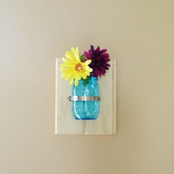 Mason Jar Wall Decor Sconce- Primitive Rustic Wood Hanging Jar - 1 Single Ball Jar Shelf - Organizer, Planter, Vase, Change, Utensil Holder