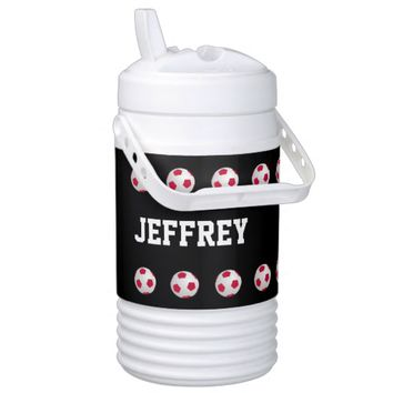 Personalized Beverage Cooler Soccer Black and Red
