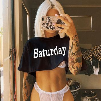 Women Loose Casual Fashion Letter Print Short Sleeve T-shirt  Pullover Crop Tops