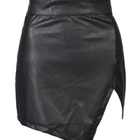Black Asymmetric Hem PU Slim Skirt