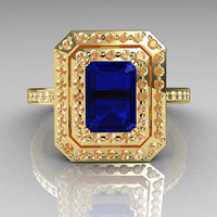 Royal 18K Yellow Gold 1.0 CT Emerald Cut Blue Sapphire Pave Diamond Double Halo Ring R83-18YGDBS