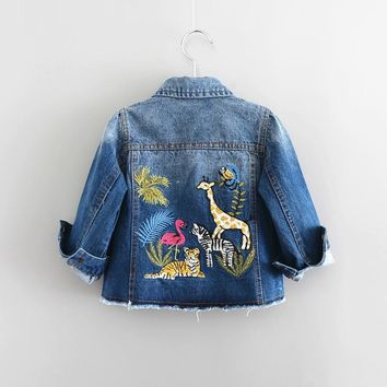 children clothing outerwear coat embroidery animals new autumn baby girls denim Jacket long sleeve for girls costumes