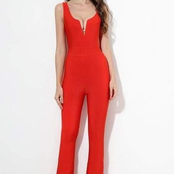 Red V-Neck Bandage Jumpsuit