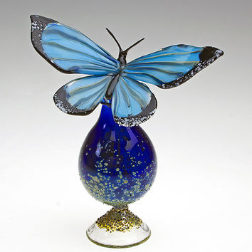 Blue Morpho Bottle by Loy Allen: Art Glass Perfume Bottle | Artful Home