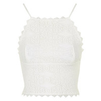 Crochet High Neck Top - White