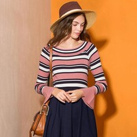 Stripes Long Sleeve Knit Tops Sweater Winter Loudspeaker [22425174042]