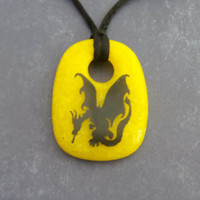 Dragon Necklace, Yellow Pendant, Black Dragon, Fused Glass Jewelry, Ready to Ship - Dixon - -5