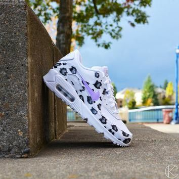 Custom Air Max 90 Snow Leopard Hand Painted Nike Air Max's Womens Shoes