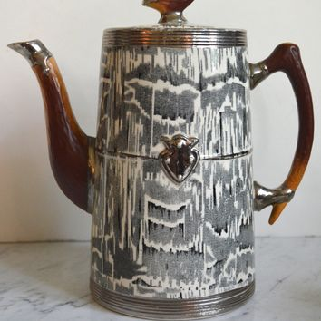 Antique Circa 1934 Faux Bois Black English Transferware Coffee / Water Pot Silver Shield Wood Grain Antler Shaped Details