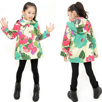 Floral Print Long-Sleeve Button Collar Coat