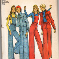 Retro Groovy 70s Simplicity Sewing Pattern Boho Hippie Overalls Wide Leg Bell Bottom Pants Flared Swing Jacket Uncut Bust 30